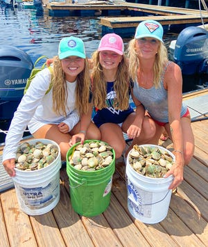 Scalloping Queens, Reagan, Piper and Lisa Banks filled their bags last week out of Stienhatchee.