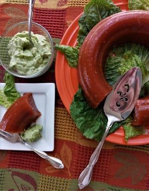 Picante gazpacho aspic with creamy guacamole.