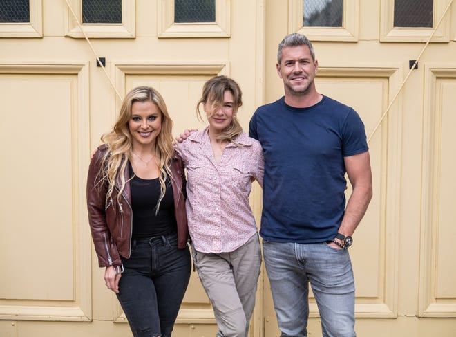 """Actress Renée Zellweger, center, with """"Celebrity IOU: Joyride"""" hosts, Cristy Lee and Ant Anstead."""
