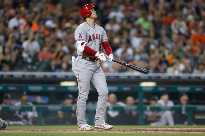 Shohei Ohtani watches his home run during the eighth inning against the Detroit Tigers.