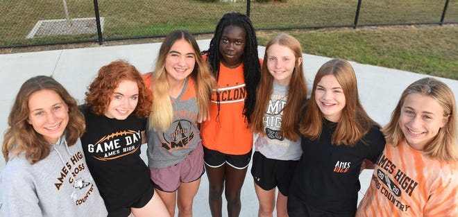 Ames High varsity girls' cross country team members (from left) Sydney Turk, Mia O'Connor-Walker, Claire Helmers, Nyadio Chan, Payton Stewart, Leola Almquist, and Marley Turk are anxiously awaiting the start of the 2021 season. The Little Cyclones have an excellent shot at making state as a team for the first time since 2016.