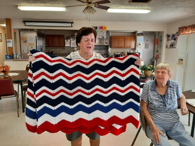 The Barnesville Senior Center is selling tickets (six tickets for $5 or $1 each ) to win this afghan. The drawing will be Dec 2. Proceeds will go toward a commercial-grade refrigerator needed for the center.
