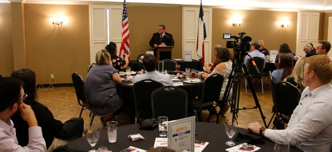 Brownwood ISD superintendent Dr. Joe Young speaks at the Brownwood Area Chamber of Commerce's luncheon, held Friday at the Brownwood Country Club.