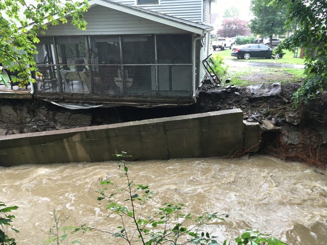 The loss of the retaining wall and the foundation has put this Willow Grove house in peril.