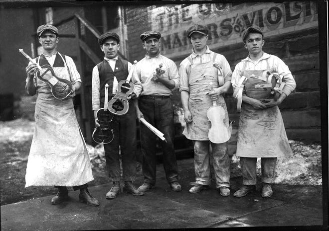 Craftsmen at the Jackson-Guldan Violin Co.—originally called Guldan Co.—show their work circa 1915. The Dispatch reported that the company provided Columbus schools with thousands of 3-foot-long sticks in 1922 for students to make kites.