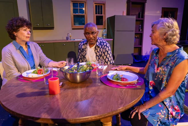 """From left: Nancy Skaggs (as Rose), Harold Yarborough (as Robin), and Josie Merkle (as Hazel) in Red Herring Theater Company's production of """"The Children."""""""