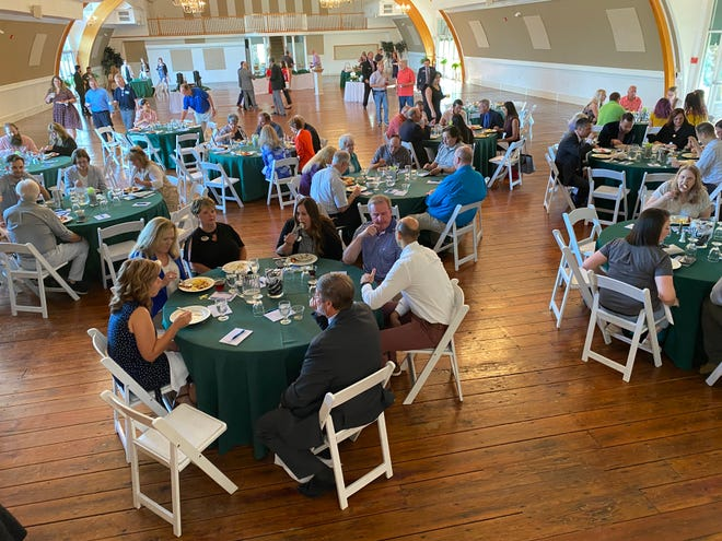 About 120 local business representatives attended the annual presentation by Mike Ross, president of Franklin County Area Development Corp., at the Aug. 19 Greencastle-Antrim Chamber of Commerce breakfast.