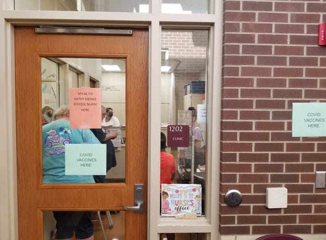 The door to the nurse's office is shown Thursday during an open house at Edward Stone Middle School in Burlington. Des Moines County Public Health offered free COVID-19 vaccines to students and families attending open houses at Ed Stone and Burlington High School.