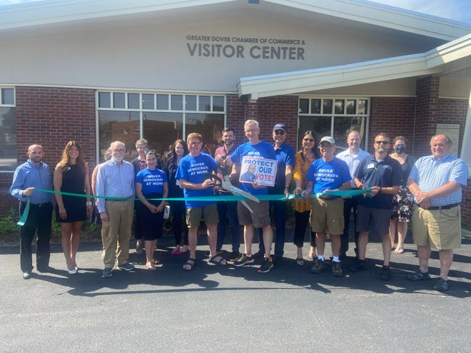 Members of the Dover Democratic Committee joined Chamber representatives recently for a ribbon cutting ceremony to signify the Dover Democrats joining the Dover Chamber.
