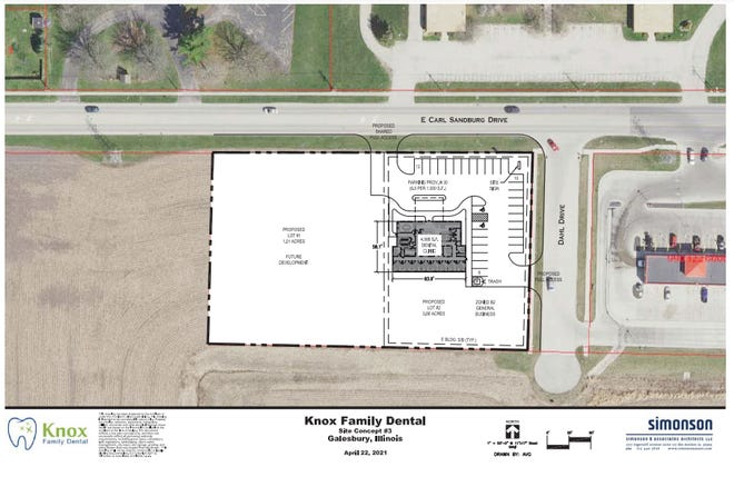 Dr. Collin Petoskey of Knox Family Dental, 1172 W. Monroe St., has purchased 1.87 acres of land west of Dahl Drive and west of Superclean Car Wash on East Carl Sandburg Drive.