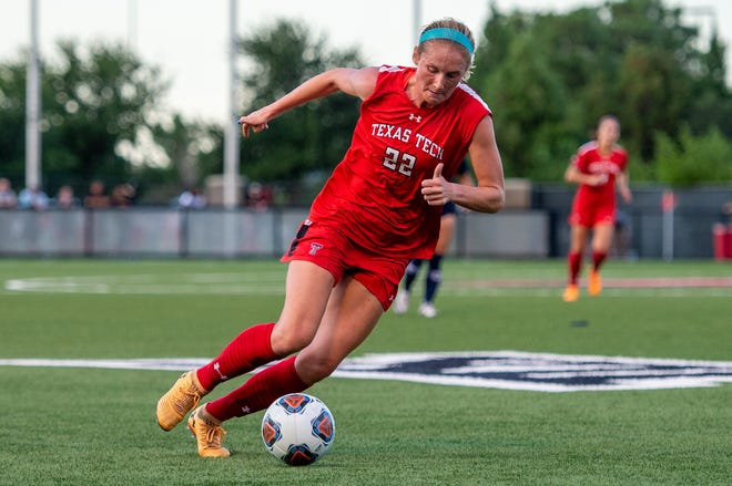 Kirsten Davis runs with the ball during the soccer match against UTEP on Thursday August 19, 2021 at the John Walker Soccer Complex in Lubbock, Texas.