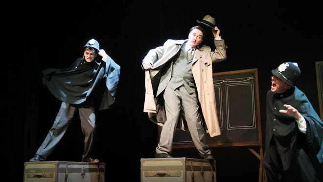 """Kriss Kuss, Wil Rogers and David Fletcher-Hall are seen in """"The 39 Steps."""""""
