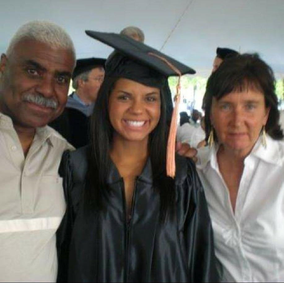 Nicole Harris, center, of Salem, is pictured with her father and mother at her 2009 college graduation. Her father, Frederick Harris, died from COVID-19 in March 2020.