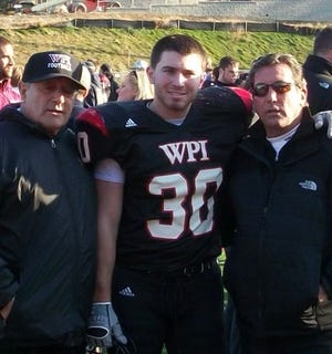 """William """"Buddy"""" Alves, left, poses with his grandson William and son Steve. Buddy, who died at the age of 85 on Thursday, starred for West Warwick in the 1950s and remained faithful to the team throughout his life."""