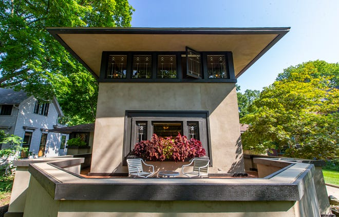 The DeRhodes House, one of two homes in South Bend designed by renowned architect Frank Lloyd Wright, in South Bend. After a renovation that took more than 40 years to complete, the home is now being offered for sale.
