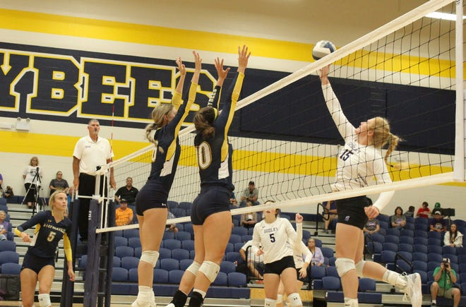 Audrey Brandon (No. 6) and Jaylee Mathews (No. 10) go up for a block against Godley during their match on Tuesday at Stephenville High School. The Bees shut out Godley, 3-0. Last weekend, the Bees came away with a 5-1 record at the Tex-Fest Tournament at Wimberley.