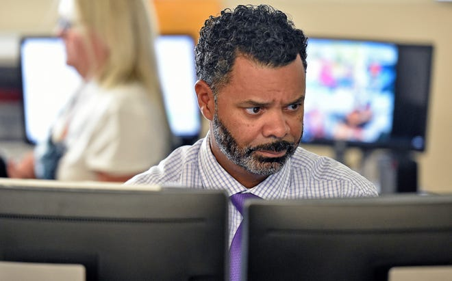 Jason Harris, the director of transportation, has been running one of the dispatch boards because they don't have school bus dispatchers right now. Sarasota County School District is dealing with massive staffing shortages.
