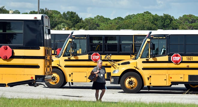 School buses are parked at the Sarasota County School District's facility in Osprey.