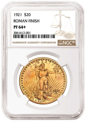 This gold coin, a 1921 Roman Finish Double Eagle, was certified by Sarasota-based Numismatic Guaranty Corporation.