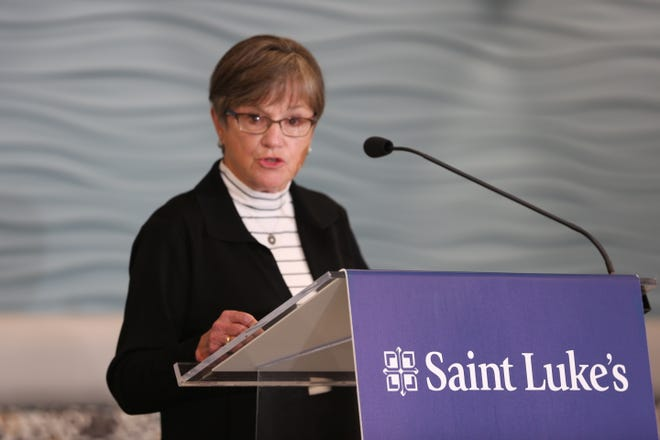 Gov. Laura Kelly speaks Friday at a press conference at Saint Luke's Hospital in Overland Park, where she sounded the alarm about capacity issues at hospitals in Kansas.