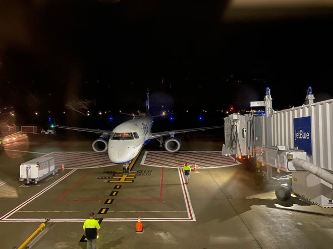 WORCESTER - The first JetBlue flight in nearly a year from JFK to Worcester arrived late Thursday night.