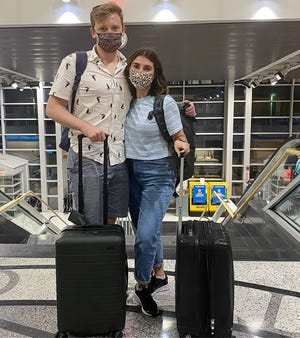 WORCESTER - Ryan and Taylor Markarian arrived at Worcester Regional Airport on the first JetBlue flight in almost a year after the pandemic forced the airline to stop flying into the city.