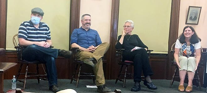 Over 30 people attended Thursday, Aug. 19's local authors panel at the Holder Memorial. The authors were (from left) Tim Baird, Patrick Brodrick, Leslie Wilson and Cathryn Parry. The authors talked about writing and answered questions.