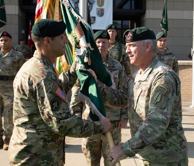 Maj. Gen. John Brennan relinquished command to Maj. Gen. Richard Angle on Aug. 12, 2021, at Fort Bragg. Lt. Gen. Fran Beaudette presided over the ceremony.