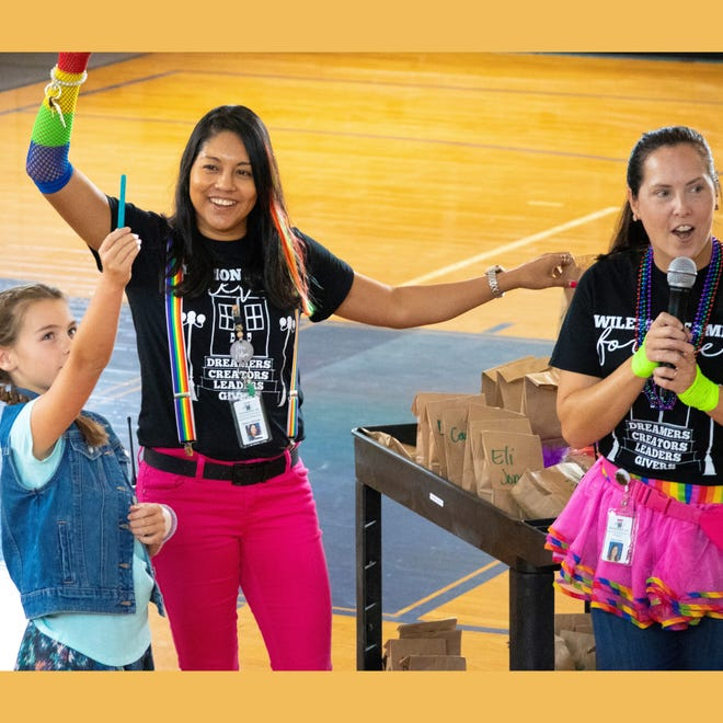 """Students and teachers at Wilemon STEAM Academy open the new year by celebrating the four """"houses"""" that students will belong to."""