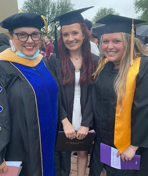Left to right: Dr. Sandra Barberis with BSW alumna Hannah Morrell and Assistant Professor Lacey Godsby.