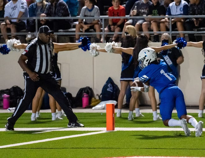 The Midlothian Panthers graduated 41 lettermen off last year's team, including Riley Angel (1), shown catching a touchdown pass last season against Fort Worth Brewer.