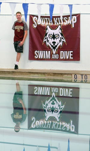 South Kitsap High School senior Kaden Cole at the South Kitsap Pool on Thursday. Cole, who was born missing an arm and a leg, won two silver medals in a Paralympic pre-qualifier competition in July.