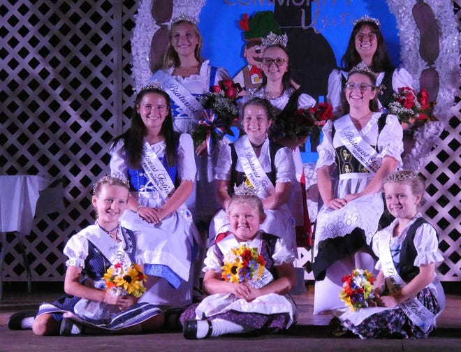 Royalty for the 2021 Bucyrus Bratwurst Festival include, from left, front, junior princess first runner-up Abby Lynn,Junior PrincessJoyanna Perdue andjunior princesssecond runner-up Finley Miller; second row, princessfirst runner-up Ally Liming;PrincessMadison Kent andprincesssecond runner-up Raven Sharrock; and back row, queen first runner-up Natalie Stover, Queen Abbie Brocwell and queen second runner-up Shanti Hunter.