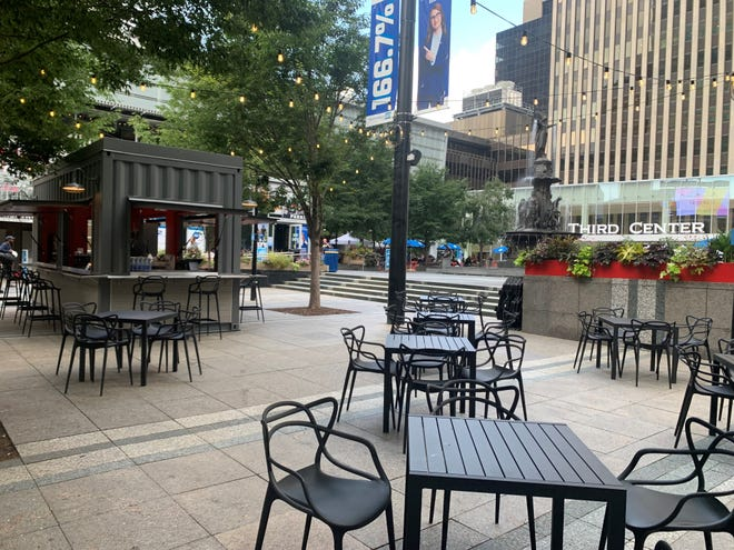 A new full-service bar built from a shipping container is set to open at Fountain Square Friday afternoon.