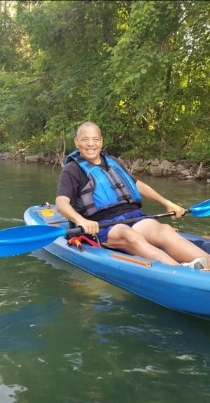 Steve Hood kayaking through the Detroit canals in July 2021. Photo provided by Greg Bowens.