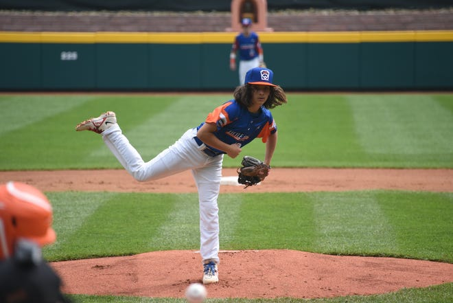 Ethan Van Belle delivers a pitch for Taylor North Little League during its opening game of the 2021 Little League World Series.
