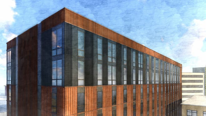 """A rendering of """"The Nest,"""" whichwill be an 11-story,184-bedroom, 96-unit residential housing community that is being marketed toward students and young professionals and is located next to downtown Iowa City's Ped Mall."""