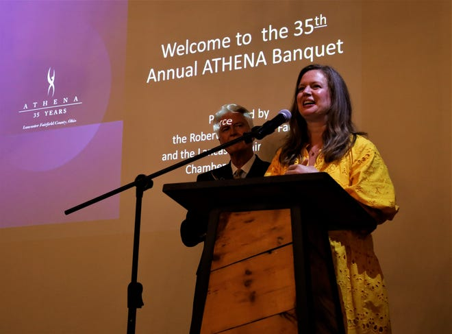 Park National Bank Regional President Laura Tussing delivers her acceptance speech as the recipient of the 2021 Athena Leadership Award on Thursday, Aug. 19. Criteria for the award include professional excellence, community service and leadership skills.