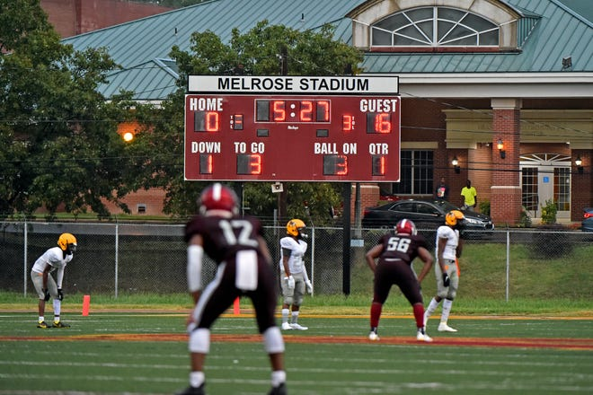 A view of the scoreboard during the 1st quarter between Memphis Academy of Health Science and Memphis Academy of Science and Engineering at Melrose High School in Memphis, Tn., on Thursday, August 19th, 2021.