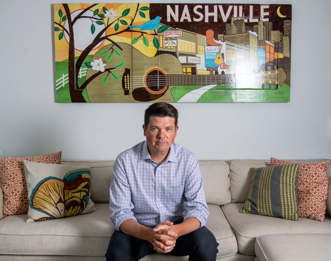 Jason Martin, a Nashville physician and vocal critic of the state's response to the COVID-19 pandemic, has officially announced his bid for the Democratic gubernatorial nomination in 2022, is pictured in his home on Friday, Aug. 20, 2021, in Nashville, Tenn.