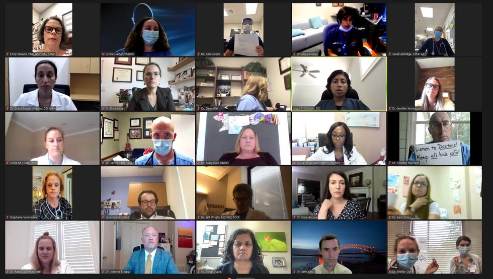 Approximately 90 doctors joined a public video conference on Friday urging Gov. Bill Lee to reverse his executive order weakening school mask mandates across the state.
