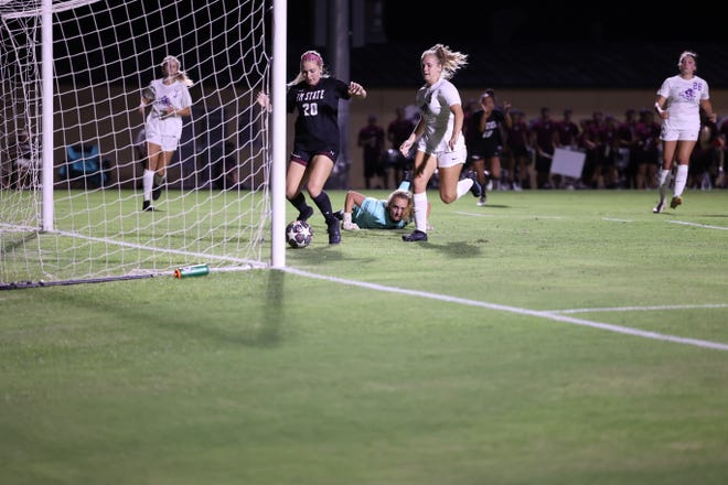 New Mexico State forward Corey Kizer scores a goal during the Aggies' 2-1 victory over Abilene Christian on Aug. 19.