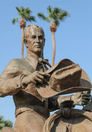 The Frank Bogert statue in front of Palm Springs City Hall, Thursday, August 19, 2021.  Bogert served as mayor from 1958-1966 and from 1982-1988.