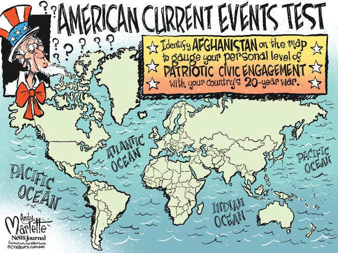 Cartoon: Can you find Afghanistan on a map?