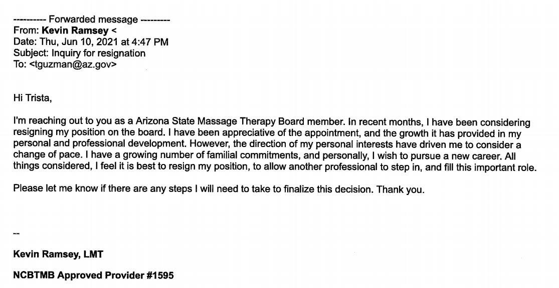 Board member Kevin Ramsey resigned June 10 after an Arizona Republic reporter questioned why he voted on Massage Envy therapists.