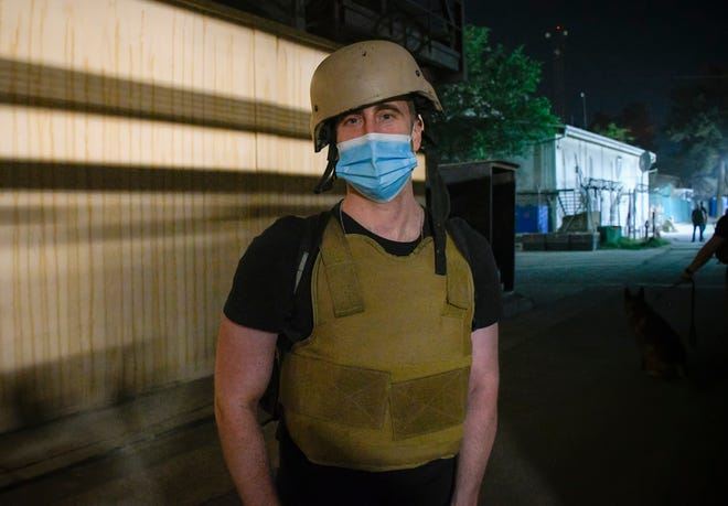Phillip Walter Wellman waits to be evacuated from Kabul Sunday.