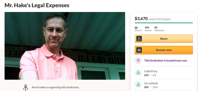 """Former Eastern York Middle School teacher Kevin Hake launched a GoFundMe page to cover legal fees in his effort """"fighting against corruption"""" in the district."""