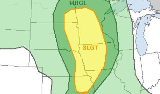 Slight risk for severe weather in eastern South Dakota today.