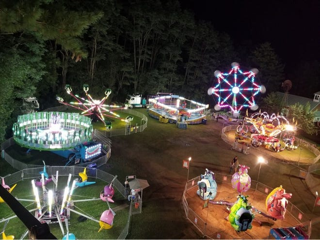An aerial view of the carnival midway at the Portage County Fair in Rosholt.