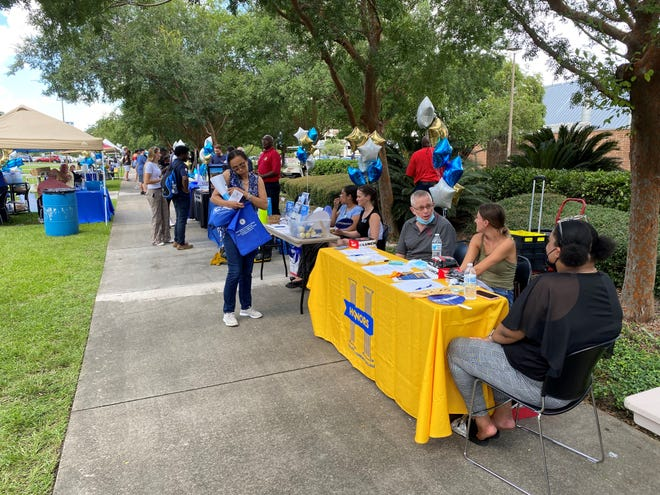 Tallahassee Community College created an outdoor village event Friday, Aug.  20, 2021 to hold its welcome back convocation